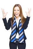 Crazy Business Person. Crazy Mad And Insane Business Lady Yelling And Shouting With Hands Raised In A Funny Image Of Corporate Stress Anger Mental Strain And Royalty Free Stock Images