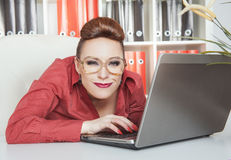 Crazy business woman in glasses working Royalty Free Stock Photo