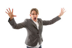 Crazy business woman - woman isolated on white background. Crazy business woman hands up and screaming, isolated on white Stock Image