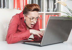 Crazy business woman working Stock Photography