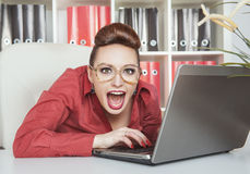 Crazy business woman working Royalty Free Stock Photos