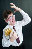 Crazy businessman. With gift box Stock Photography