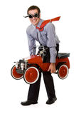 Crazy businessman with budget transportation Stock Photography