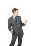 Crazy businessman dancing Royalty Free Stock Images
