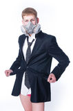Crazy businessman with empty pockets Royalty Free Stock Photography
