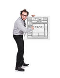 Crazy businessman. Holding poster with template website Royalty Free Stock Photos