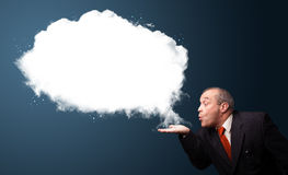 Crazy businessman presenting abstract cloud copy space Royalty Free Stock Photo