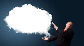Crazy businessman presenting abstract cloud copy space Stock Image