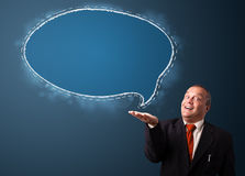 Crazy businessman presenting speech bubble copy space Stock Image