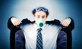 Crazy businessman in protective mask Royalty Free Stock Photos