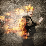 Crazy businessman running engulfed in fire. Late. Funny portrait of a time driven businessman running engulfed in fire with a crazy look of stress. Rush hour Royalty Free Stock Photos