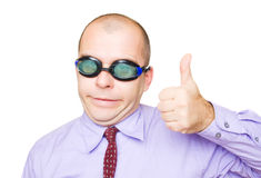 Crazy businessman showing thumb up stock photo