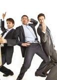 Crazy businessmen dancing Stock Photography