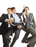 Crazy businessmen dancing Royalty Free Stock Photos