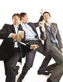 Crazy businessmen dancing Royalty Free Stock Photos