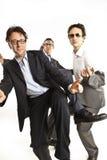 Crazy businessmen dancing Stock Images