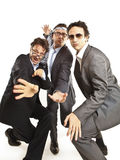 Crazy businessmen dancing stock images