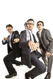 Crazy businessmen dancing royalty free stock image