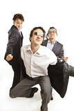 Crazy businessmen dancing Royalty Free Stock Images