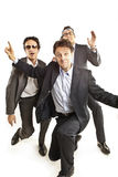 Crazy businessmen dancing stock photography
