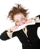 Crazy businesswoman breaks contract Royalty Free Stock Image