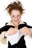 Crazy businesswoman breaks contract . Isolated on white royalty free stock images