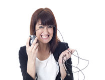 Crazy businesswoman with computer mouse Royalty Free Stock Image