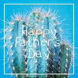 Crazy Cactus Father day greeting card. Funny Happy Father`s day Background. Crazy Cactus Father day greeting card royalty free stock image