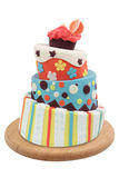 Crazy cake. Decorated with fondant - isolated on white background Royalty Free Stock Photo
