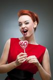 Crazy candy woman Royalty Free Stock Photos