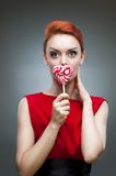 Crazy candy woman Stock Image