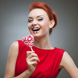 Crazy candy woman Royalty Free Stock Photography