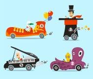 Crazy cartoon cars. Crazy cars  illustration cartoon set Stock Photos