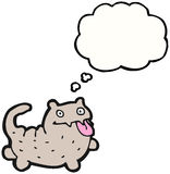 Crazy cartoon cat with thought bubble Stock Photography