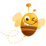 Crazy cartoon funny cute bee with stripes flying buzz. Cartoon cute bee fly with funny antennas closing one eye and making a face vector illustration