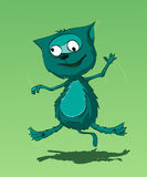 Crazy cat. Jumping (cartoon character Royalty Free Stock Image