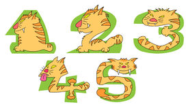 Crazy Cats on green numbers: 1 - 5 set Stock Photography