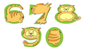 Crazy Cats on green numbers: 6 - 0 set Royalty Free Stock Photos