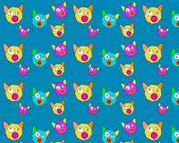 Blue background with many funny cat heads vector illustration