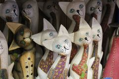 Crazy cats statues royalty free stock image