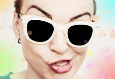Crazy caucasian disco woman with stylish sunglasses Stock Photo