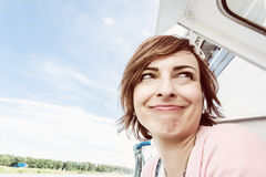 Crazy caucasian woman on the cruise ship, travelling theme Royalty Free Stock Photography