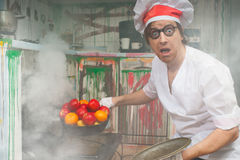 Crazy chef Stock Images
