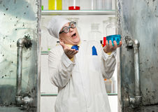 Crazy chemist Royalty Free Stock Images