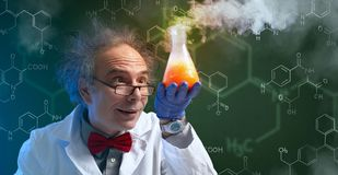 Crazy chemist with cure stock photos