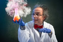 Crazy chemistry professor carried a dangerous experiment royalty free stock image