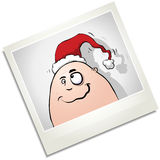 Crazy Chrismas Polaroid Character In Santa Hat Stock Image