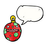 Crazy christmas bauble cartoon character Royalty Free Stock Images