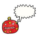 Crazy christmas bauble cartoon character Royalty Free Stock Photography