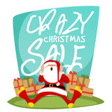 Crazy Christmas Sale Poster, Banner or Flyer. Stock Image